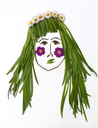 Floral cartoon woman of flowers and green grass. Summer logo. Beautiful card. Botany. Floral girl. Nature creative c concept.