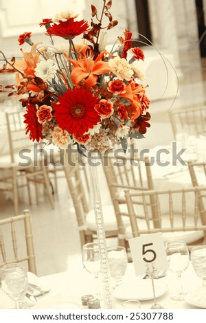 stock photo Floral Centerpiece at Wedding Reception