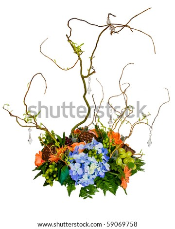 Floral centerpiece isolated on white - stock photo