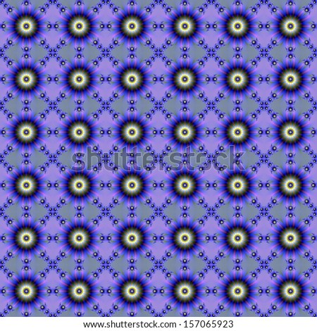 Floral Chain Reaction / Digital abstract fractal image with a seamless floral chain design in blue, pink and lilac.