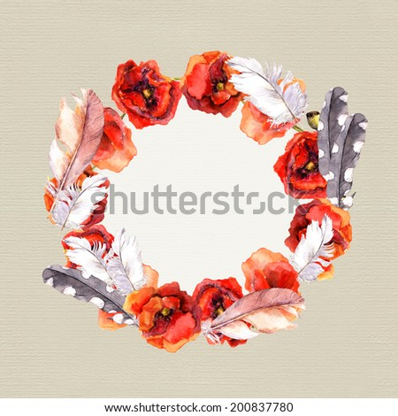 Floral chic wreath with colorful flowers poppies and feathers for greeting card. Watercolor art on paper background