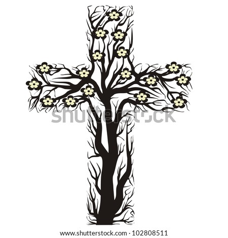 Floral Christian Cross Tree Shape On A White Background