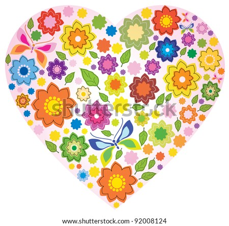 Floral colorful Heart and butterfly over white