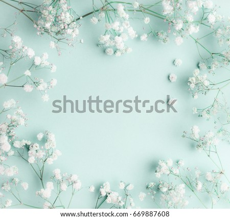 Floral composition with light, airy masses of small white flowers on turquoise blue background, top view, frame.  Gypsophila Baby's-breath flowers #669887608