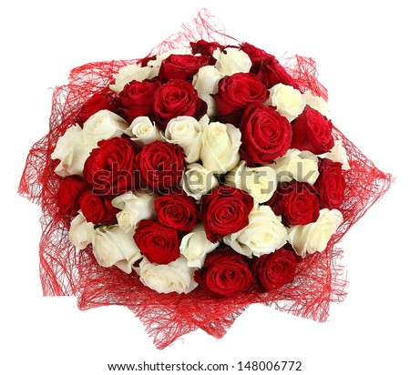 Floral compositions of red and white roses large bouquet for Different color roses bouquet