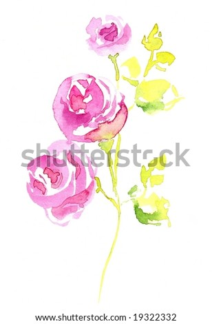 Floral design with hand-painted abstract rose flowers on white background. Art is painted and created by photographer.