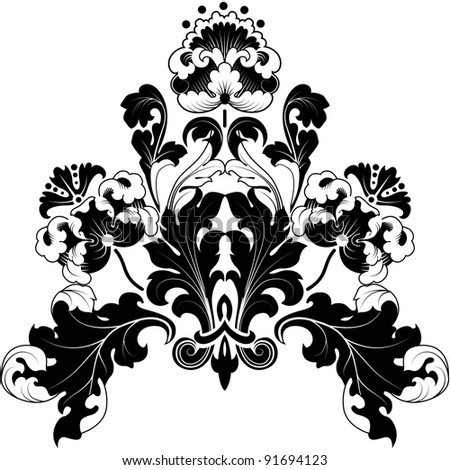 Floral designs in antique style. Black and white illustration. Can be repainted any color.