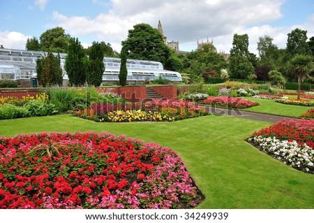 floral display in pittencrieff park in dunfermline scotland