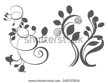 Floral elements in various styles for ornate and decoration
