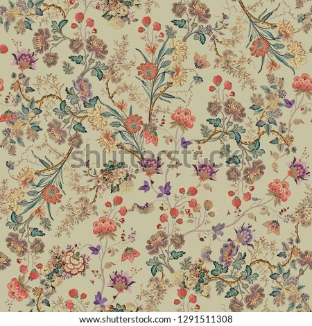 floral flower pattern with cream background