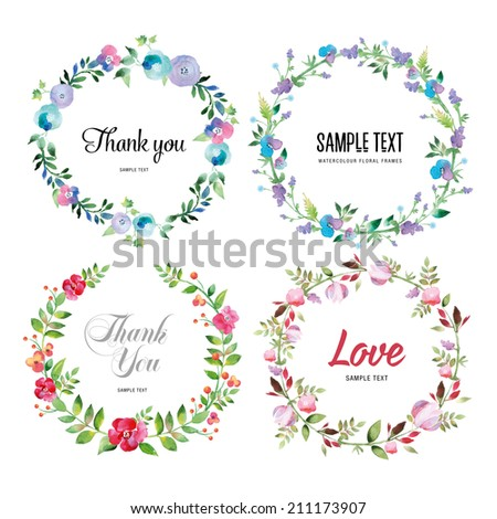 Floral Frame Collection. Set of cute retro flowers. Perfect for wedding invitations and birthday cards