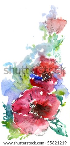 Floral frame, poppies. Watercolor.