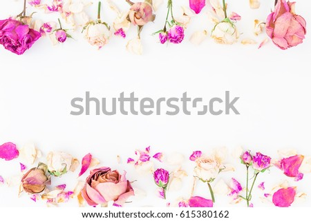 Floral frame with pink roses isolated on white background, Flat lay, Top view #615380162