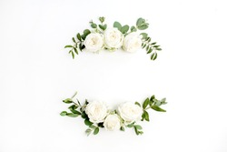 Floral frame wreath of white rose flower buds and eucalyptus on white background. Flat lay, top view mockup.