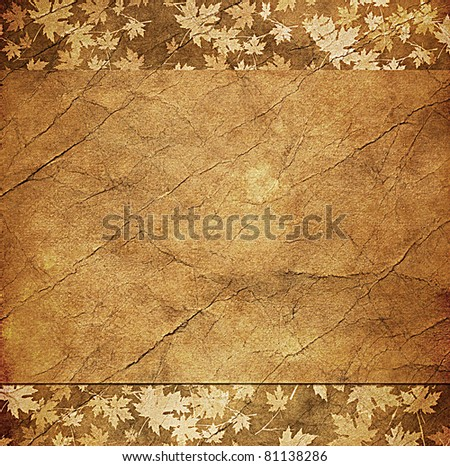 floral grunge frame with autumn foliage on old parchment .old paper with floral pattern