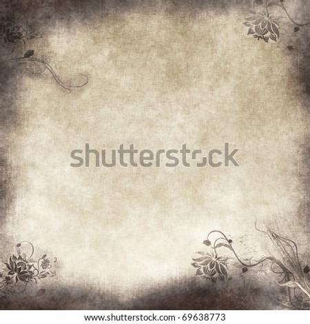 floral grunge illustration on old parchment .old paper with floral pattern