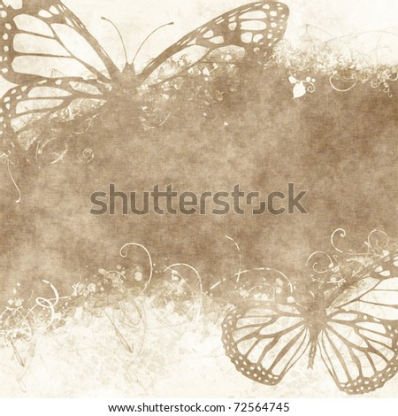 floral grunge illustration with butterflies on old parchment .old paper with floral pattern