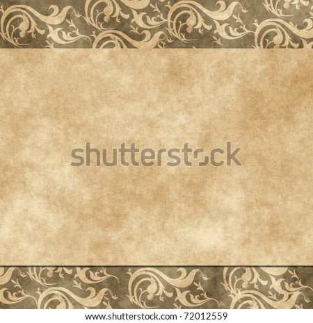 floral grunge retro wedding invitation or greeting card on old parchment .old paper with floral pattern