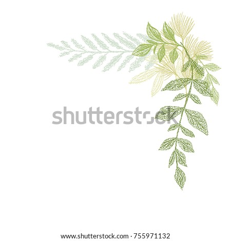 floral hand drawing  green leaf ...