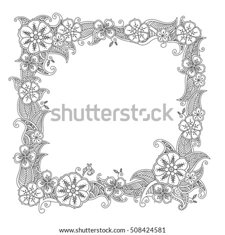 Floral Hand Drawn Square Frame In Zentangle Style Isolated On White Background Doodle Flowers Decorative