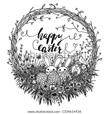 floral hello easter wreath illustration. black and white easter clipart with easter bunny, eggs, flowers, leaves, branches, calligraphy quote in linear line art. isolated happy easter bunny clip art.