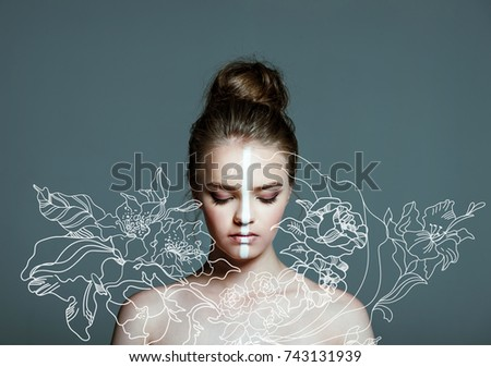 floral illustration over young beautiful teen girl with closed eyes and creative white body art line on face,