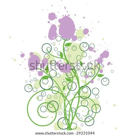 Floral Ink Design - stock photo