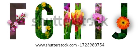 Floral letters. The letters F, G, H, I, J are made from colorful flower photos. A collection of wonderful flora letters for unique spring decorations and various creation ideas. clipping path