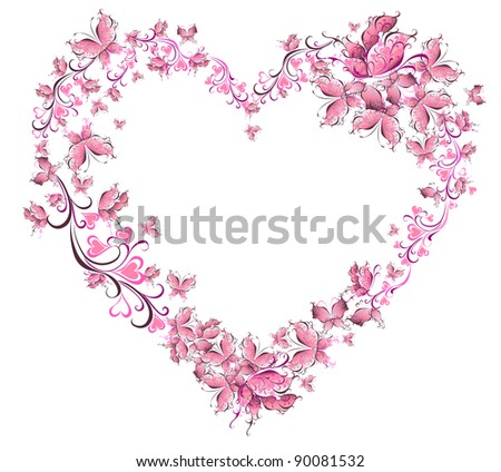 Floral love shape. Heart of butterflies. Valentines day card.