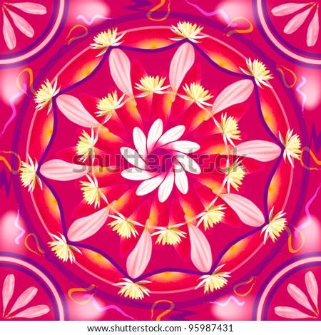 Floral mandala drawing sacred circle in shades of pink