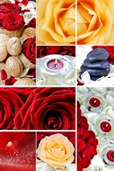 Floral Mosaic. Red and White Roses, Rocks, Rose Petals and Candles Composition. Beautiful Floral Mosaic - Great For Wall Prints. Floral Photo Collection.