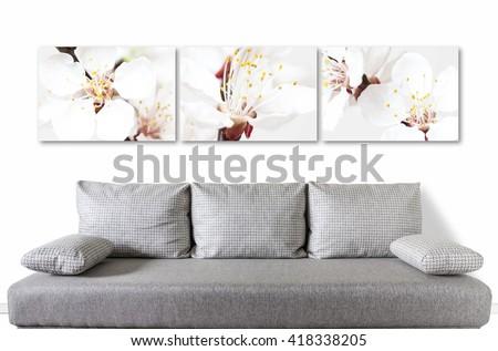 floral motif canvas over modern ...
