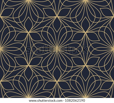 Floral ornament. Geometric medallion all over print. Simple design for interior textile, cloth fabric, phone case. Line lace seamless pattern. Vintage ogee printing block. Graphic paisley motif.
