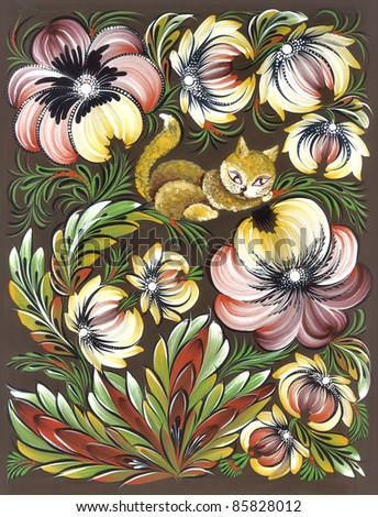floral ornament with bright flowers, leaves and cat