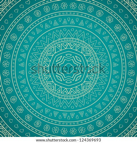 Floral ornaments on blue background. Floral mandala. Raster version.