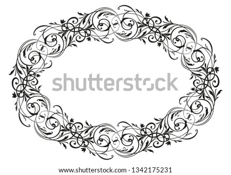 Floral ornate Wreath isolated on white background and brush. Engraved Element. Vintage frame for Save the Date Card, Wedding invitation,