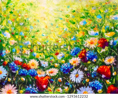 Floral painting landscape. Original oil painting of flowers, beautiful field flowers on canvas. Summer field of flowers. Modern Impressionism. Impasto artwork. Spring art.