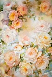 Floral paper background with apricot roses