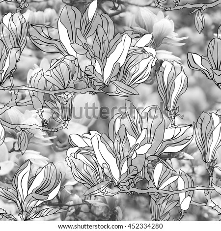 Floral patten seamless with graphic hand drawn flowers. Artistic photo collage with soft focus effect.