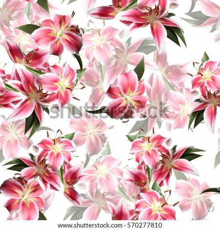 Floral pattern blossom lilies seamless. Artistic photo collage blooming flowers with green leaves. #570277810