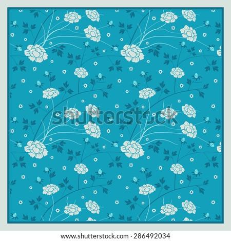 Floral pattern, design for shawl, pocket square, textile