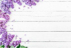 Floral pattern made of blue lilac branches and petals on white wooden background. Flat lay, top view. Floral purple frame