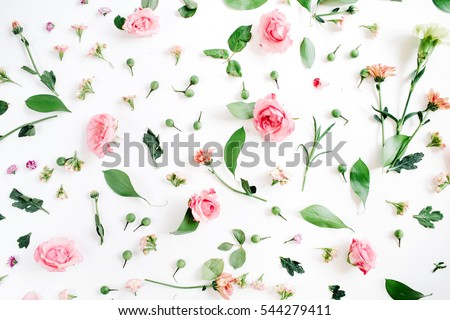 Photo of Floral pattern made of pink and beige roses, green leaves, branches on white background. Flat lay, top view. Valentine's background. Floral pattern. Pattern of flowers. Flowers pattern texture