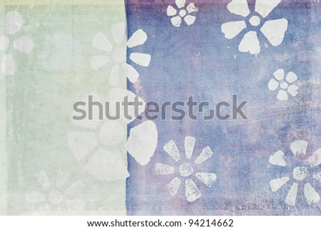 floral pattern on old grunge wall ,grunge wallpaper