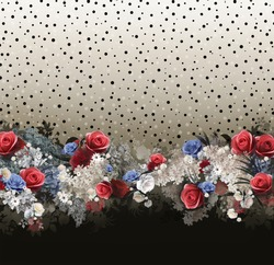 Floral pattern on seamless cloth, fabric. Flower bouquet.  Beautiful design for fabric, cloth with maximum size