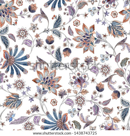 Floral pattern on white background. Watercolor print. Seamless texture. Elegant template for fashion prints. Printing with in hand drawn style