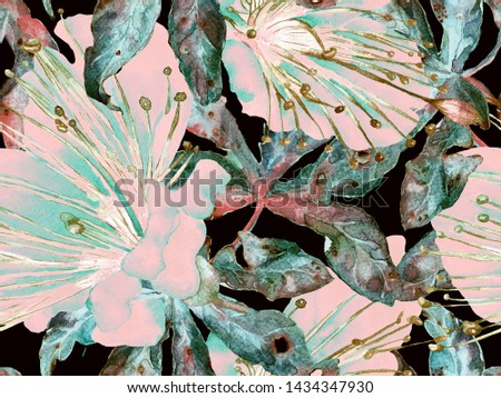 Floral Pattern Trendy. Big Jungle Seamless Print on Green and Red Background. Big Jungle Summer Watercolour Maracuja Endless Background. Random Floral Pattern.