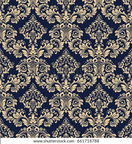 floral pattern wallpaper baroque damask seamless vector