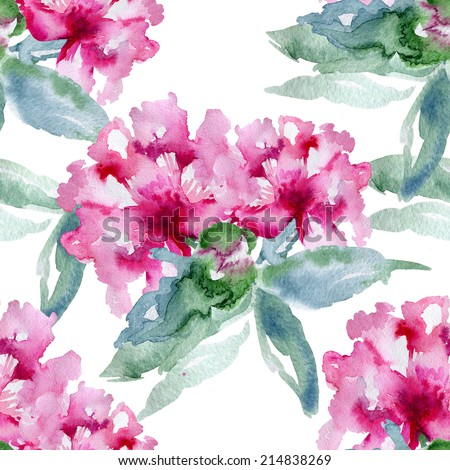 Floral pattern Watercolor seamless background Pink peonies