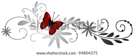 Floral pattern with red butterfly